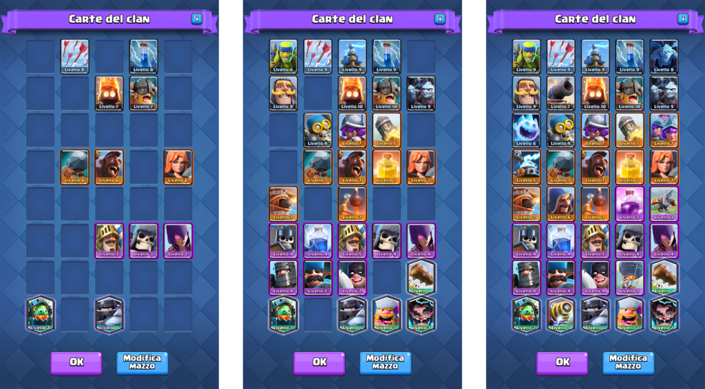 clash royale guerra tra clan collezione carte