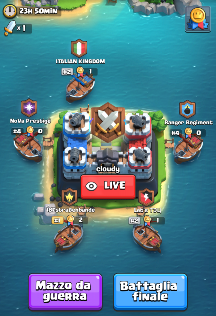 clash royale guerre tra clan