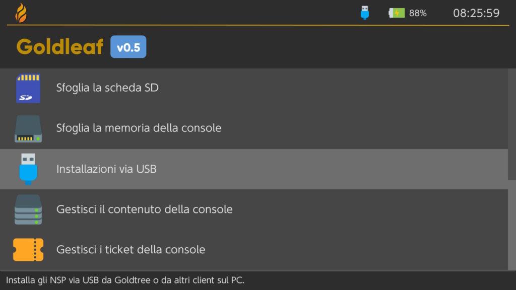 goldleaf installazioni via usb switch